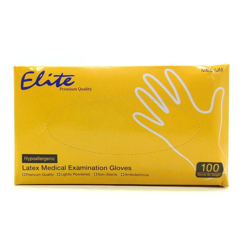 Elite Latex Medical Examination Gloves 100's (Medium)