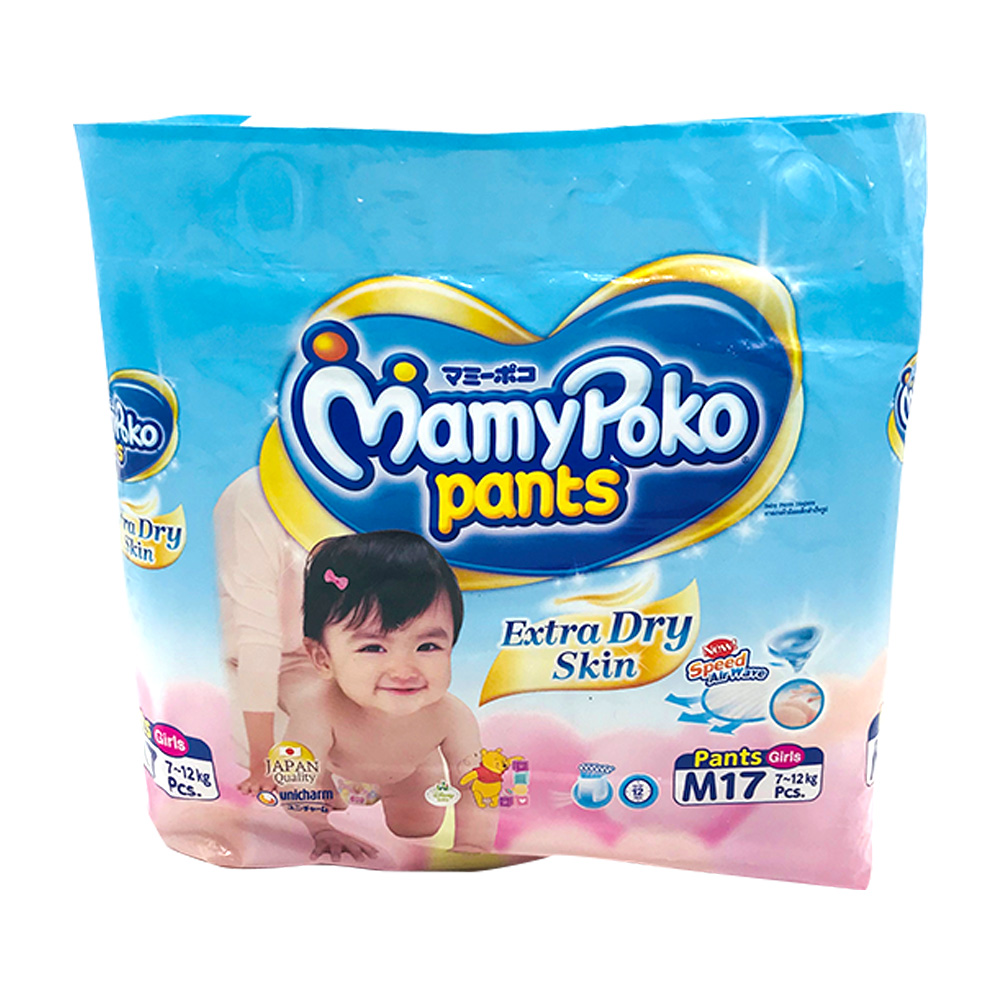 Mamy Poko Diaper Pants Extra Dry Skin 17's Size-M (Girls)
