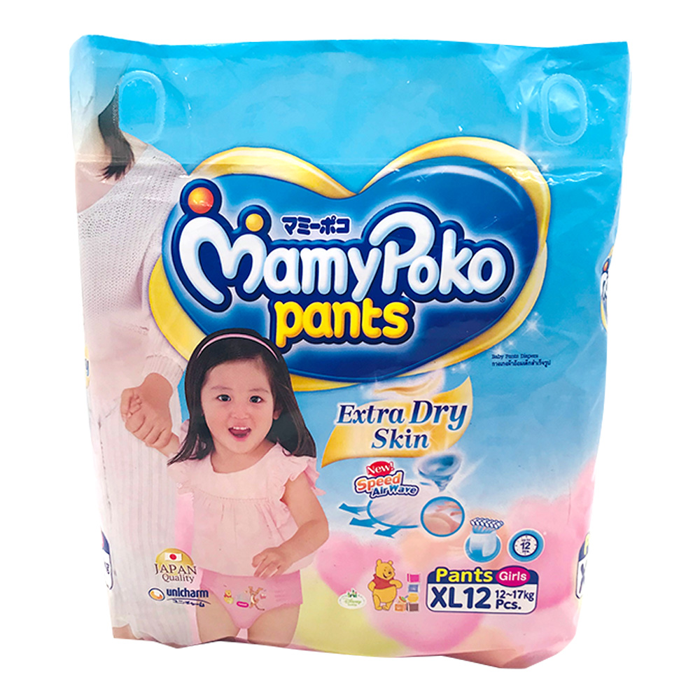 Mamy Poko Diaper Pants Extra Dry Skin 12's Size-Xl (Girls)