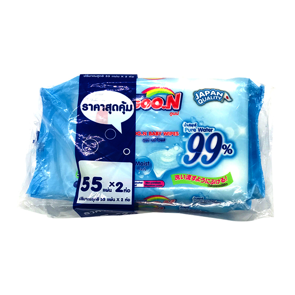 Goon Baby Wipes Pure Water 55's x 2 Pack