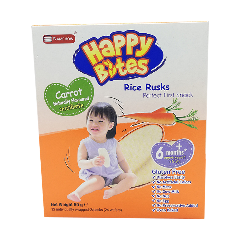 Happy Bites Baby Rice Rusks Carrot 50g (6 Months+)