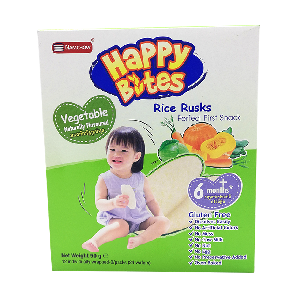 Happy Bites Baby Rice Rusks Vegetable 50g (6 Months+)