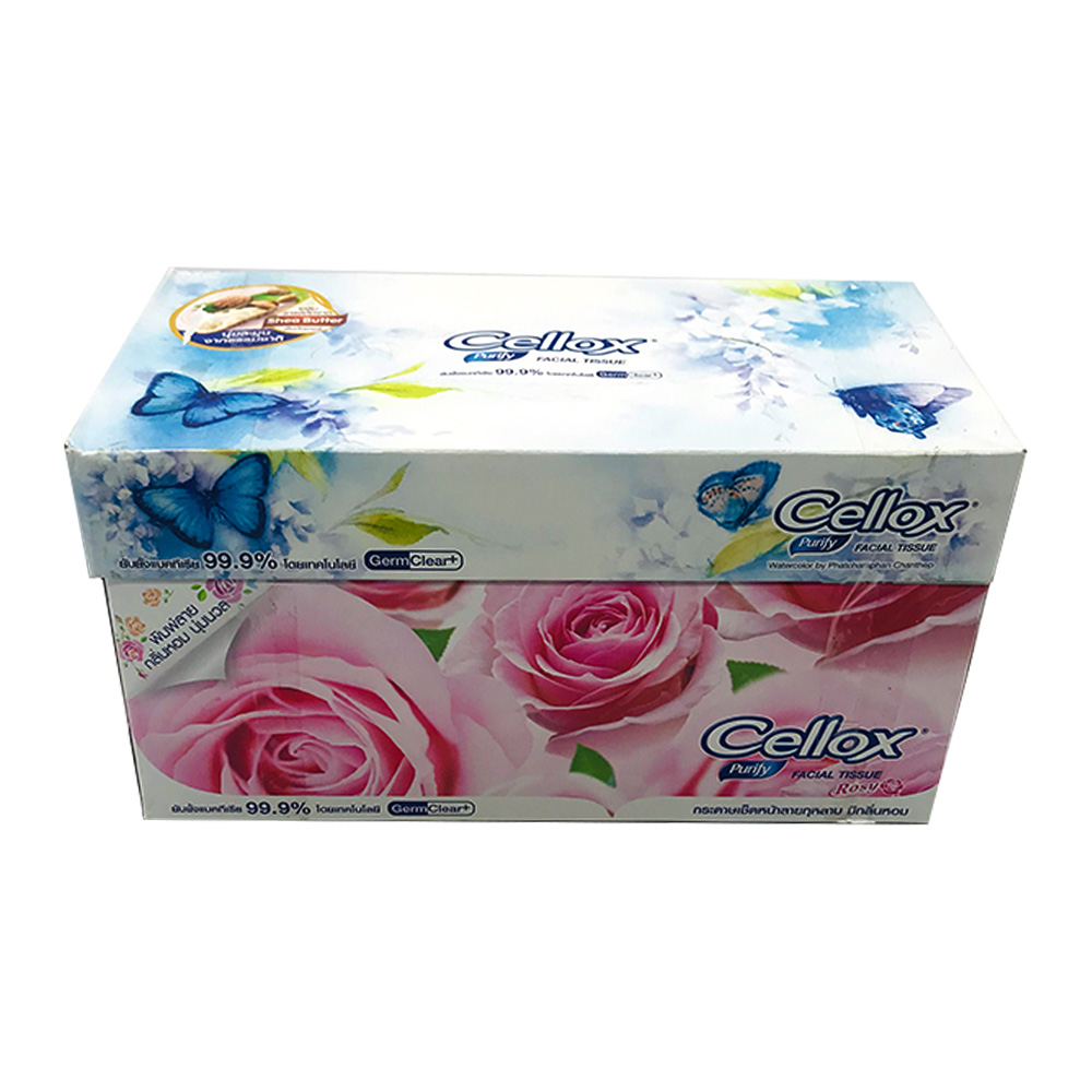 Cellox Purify Facial Tissue Box Rosy 2ply 150's