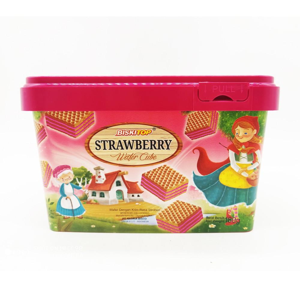 Biski Top Strawberry Wafer Cube 180g
