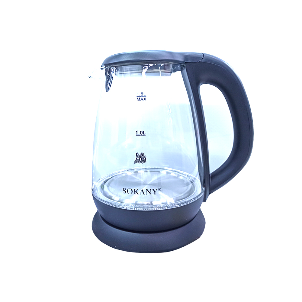 Sokany Cordless Glass Electric Kettle 206A 1800W (220-240V)