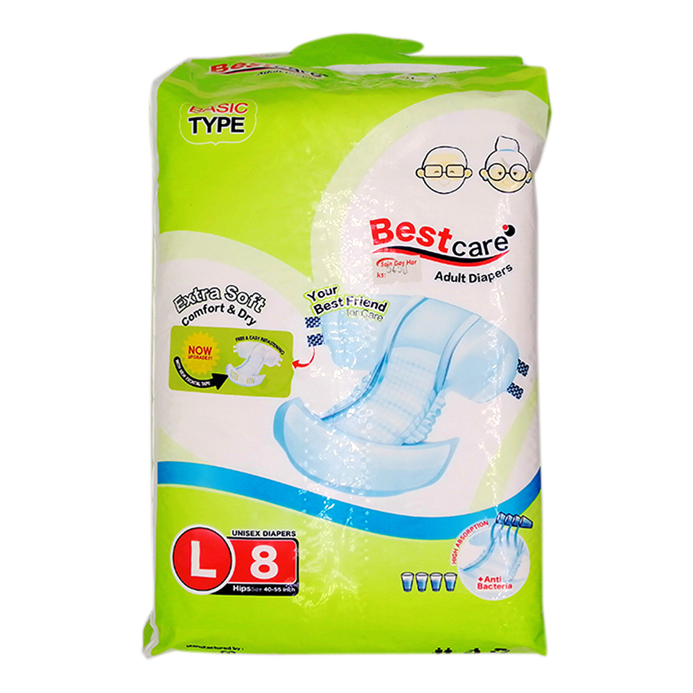 Best Care Adult Diaper Extra Soft Comfort & Dry L 8's