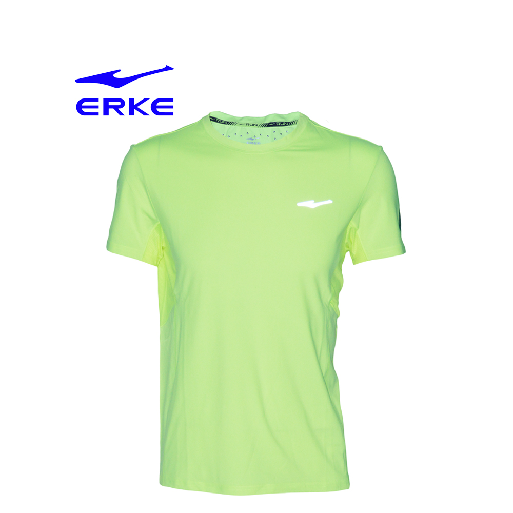 Erke Men Crew Neck T-Shirt S/S No-11217119346-401 Acid Yellow Size-2XL