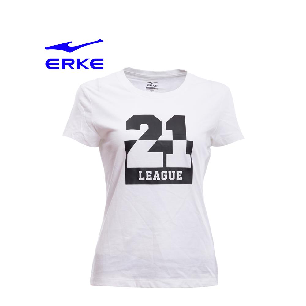 Erke Women Crew Neck T Shirt S/S No-12217219011-002 White Size-XS