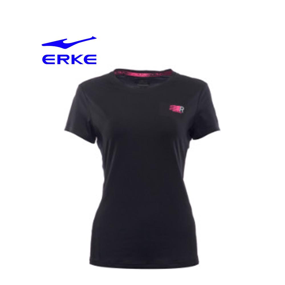 Erke Women Crew Neck T Shirt S/S No-12217219275-004 Black Size-2XL