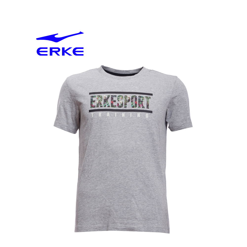 Erke Men Crew Neck T Shirt S/S No-11217219194-122 L.Heather Grey Size-L