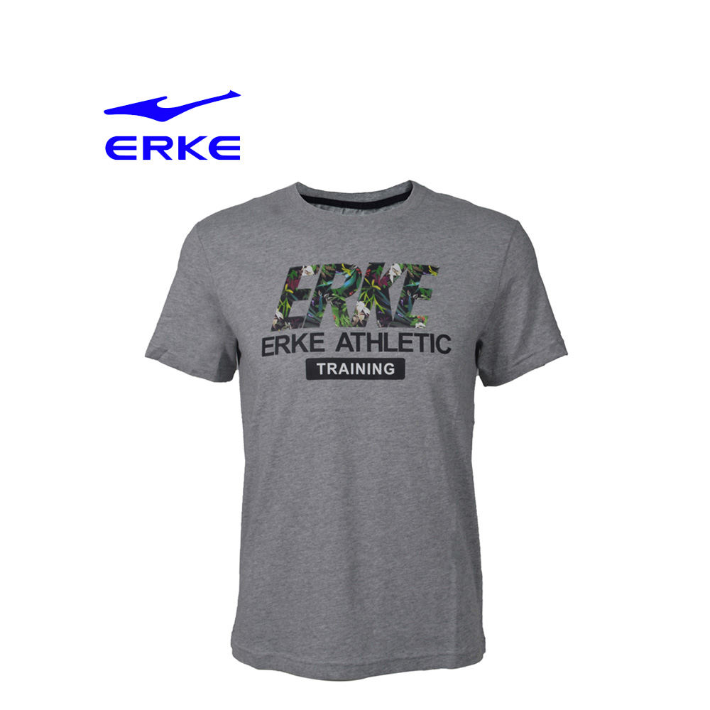 Erke Men Crew Neck T Shirt S/S No-11217219196-122 L.Heather Grey Size-M