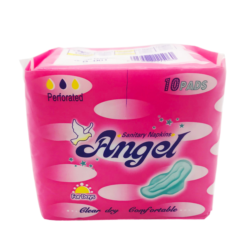 Angel Sanitary Napkin Clear Dry Comfortable Wing Perforated Day 10's