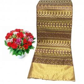 Golden Silk Women Fabric Longyi (Akayi Line Kachin)