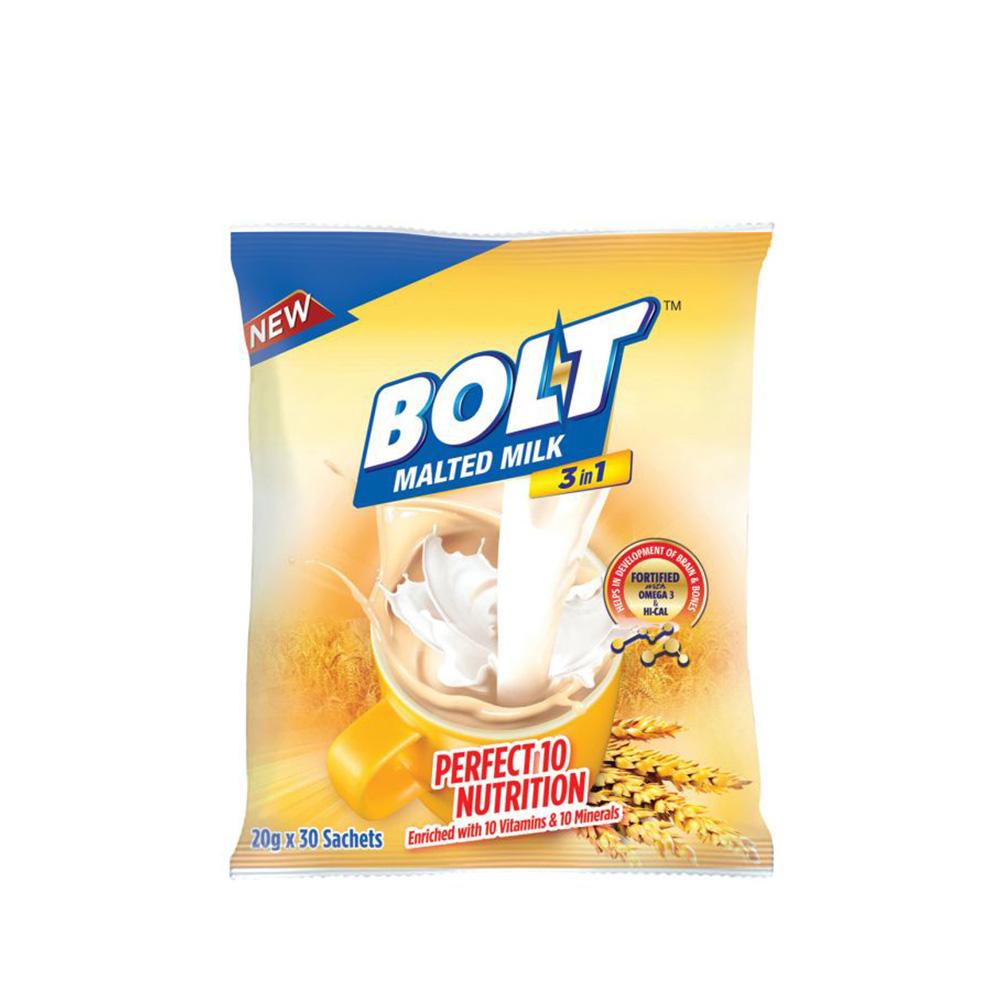 Bolt 3 in 1 Malted Milk 30's 600g