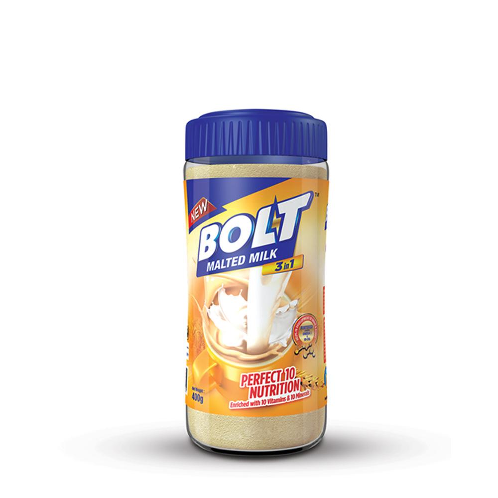 Bolt 3 in 1 Malted Milk 400g (Bot) (FOC Buy 1 Get 1 Mug)
