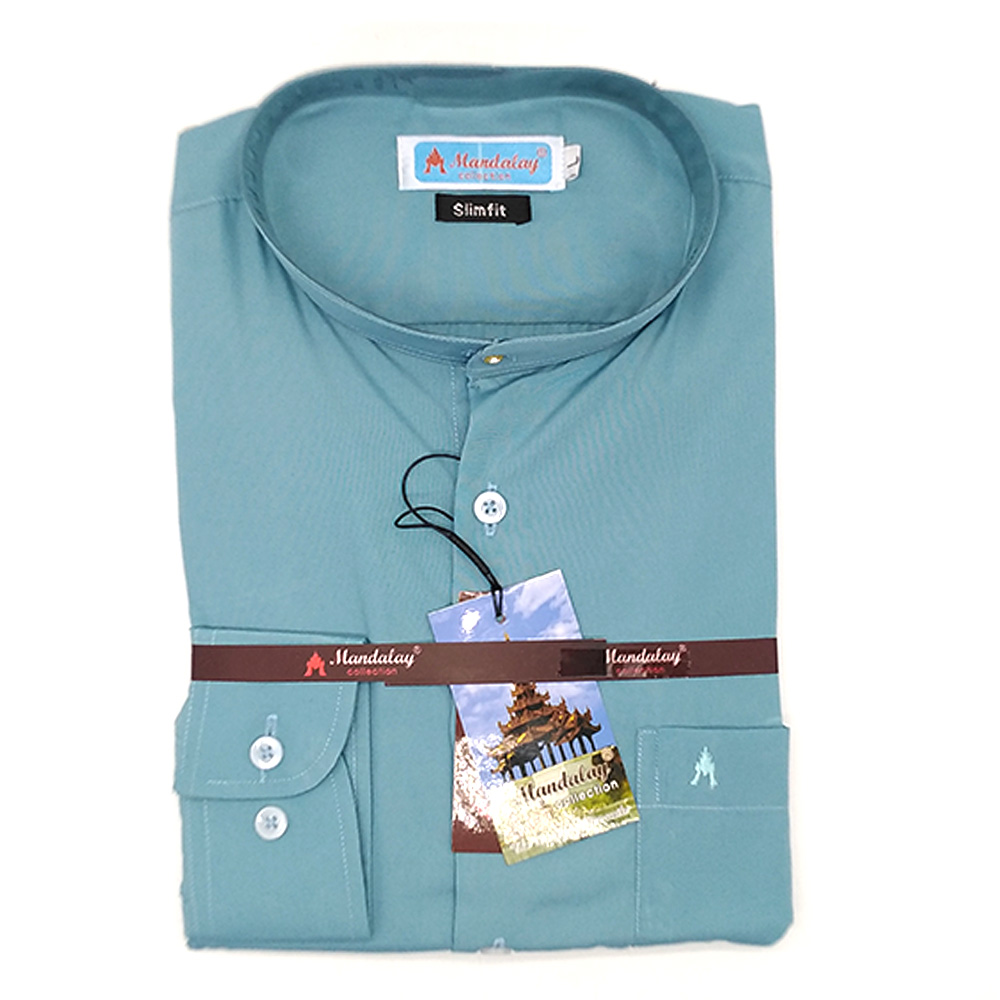 Mandalay Men Color Slim Fit Shirt L/S (Three Rifle Thar Lel Gatone) (FOC-Buy 5pcs Get 1pcs Mya Kyar Phyu Men Longyi)