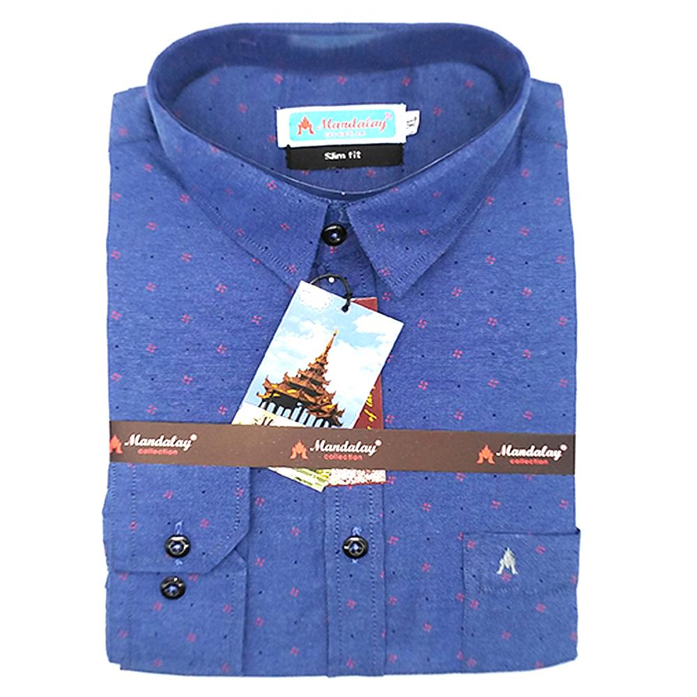 Mandalay Men Color Slim Fit Shirt L/S (Jean Thar SF) (FOC-Buy 5pcs Get 1pcs Mya Kyar Phyu Men Longyi)
