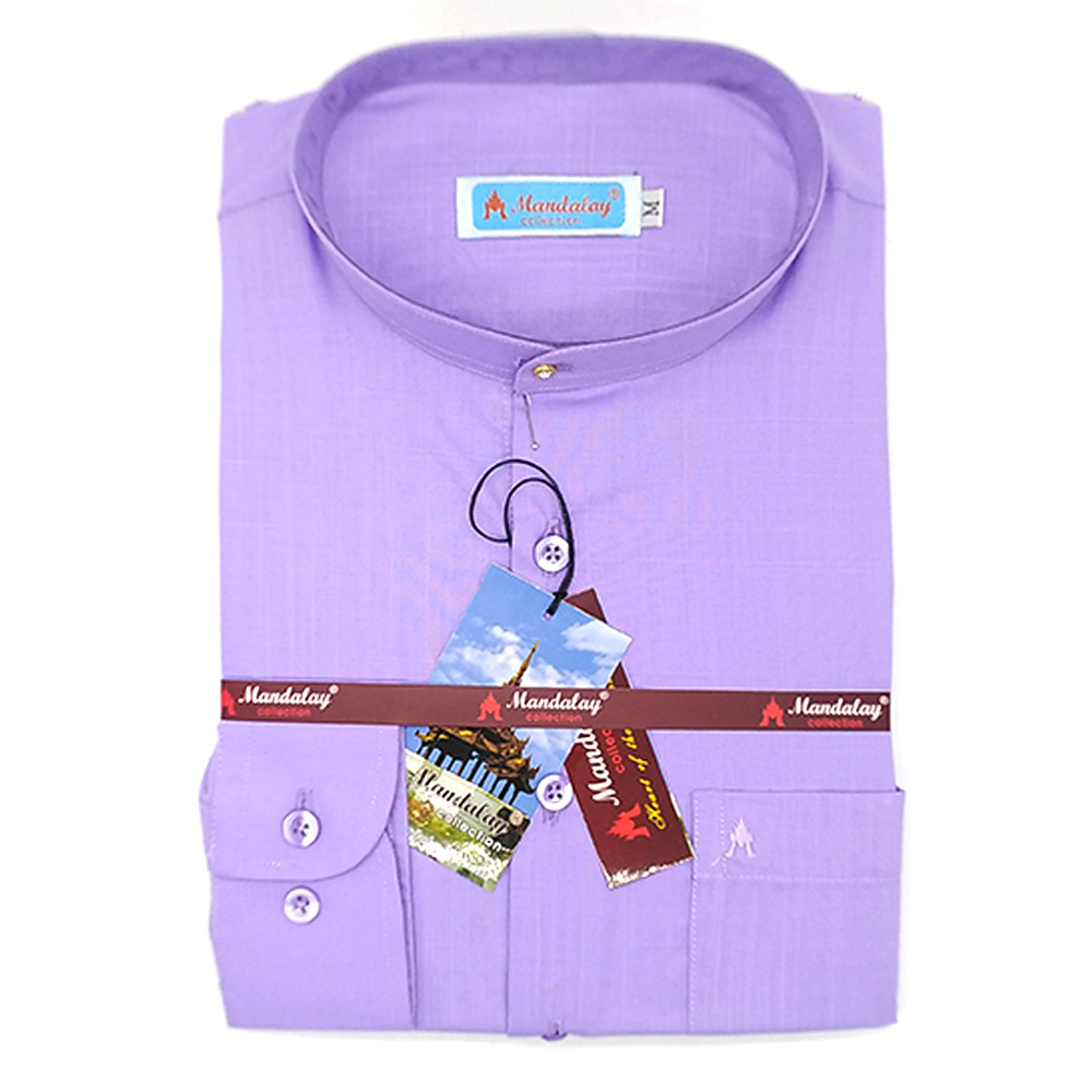 Mandalay Men Color Shirt L/S (A Chit Thar Lel Gatone) (FOC-Buy 5pcs Get 1pcs Mya Kyar Phyu Men Longyi)