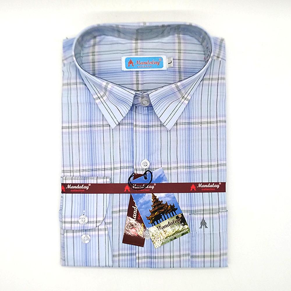 Mandalay Men Plaid Shirt L/S (FOC-Buy 5pcs Get 1pcs Mya Kyar Phyu Men Longyi)