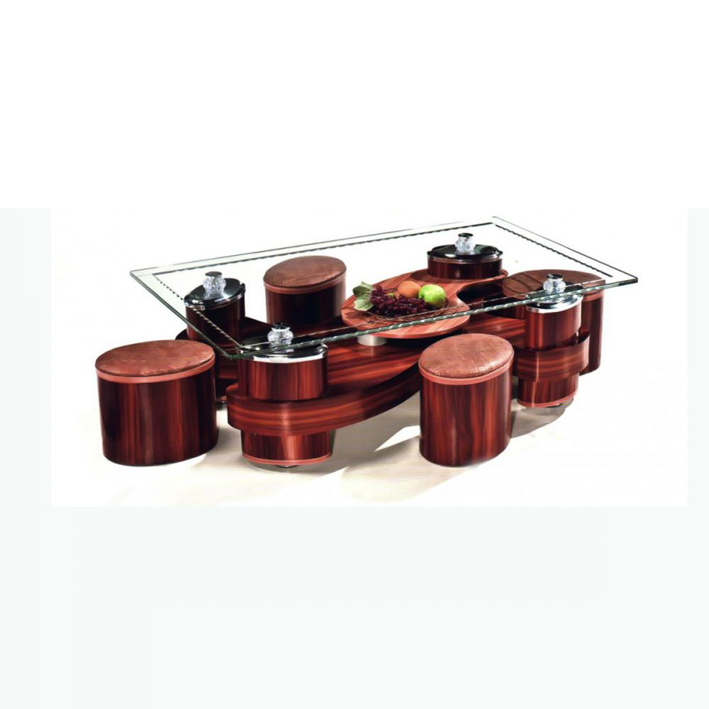 New World Coffee Table With 4 Stools CT-PH-2008 (Size-130 x 80 x 45)