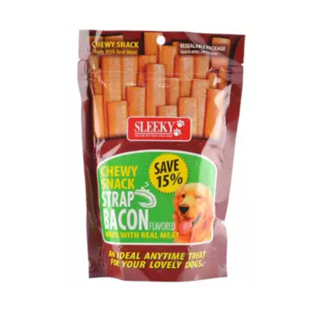 Sleeky Dog Food Chewy Snack Strap Bacon Flavored 175g
