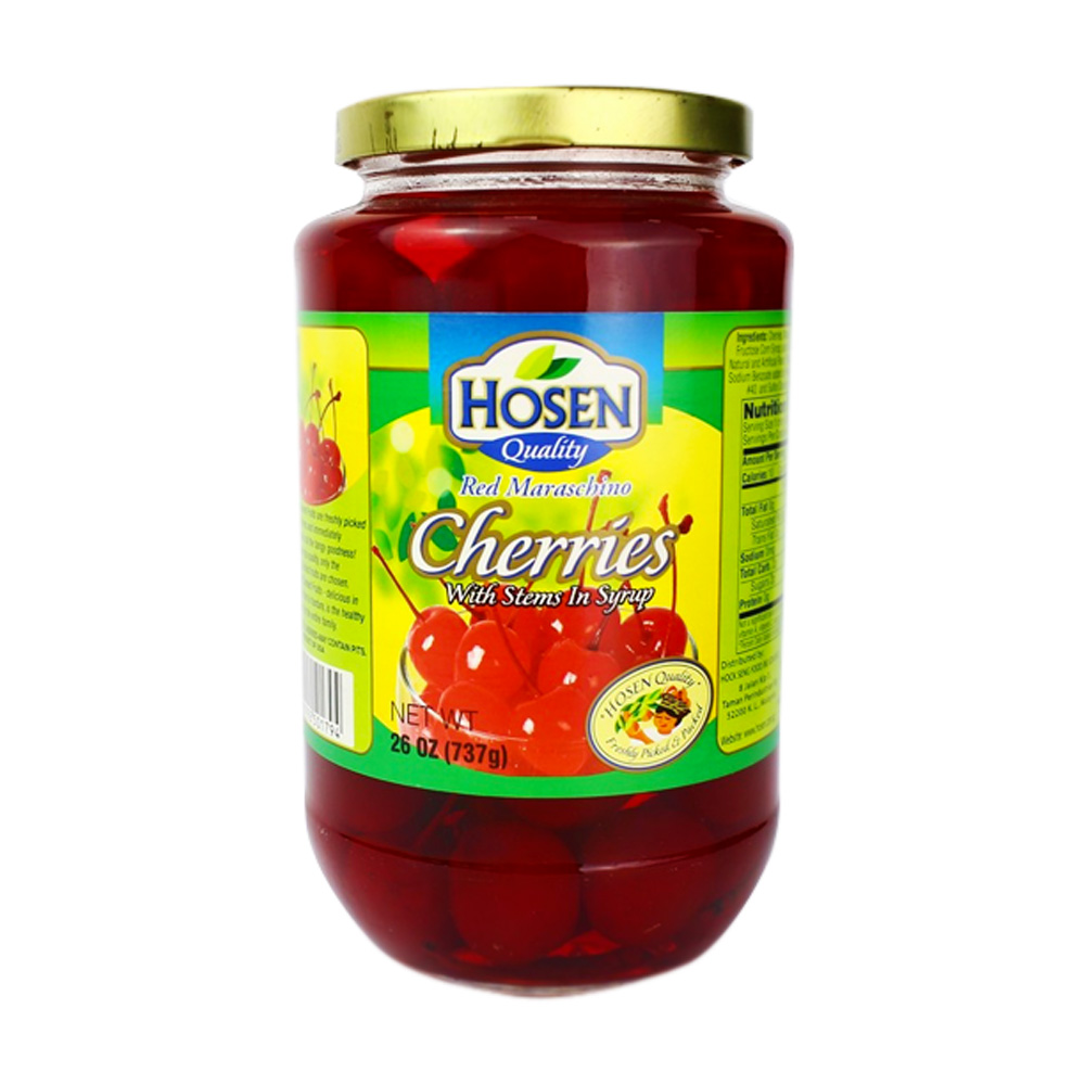 Hosen Red Maraschino Cherries With Stems In Syrup 732g