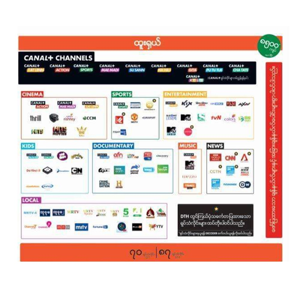 Canal Plus Channels Htoo Shall One Month Package ထူးရှယ် ၁ လ