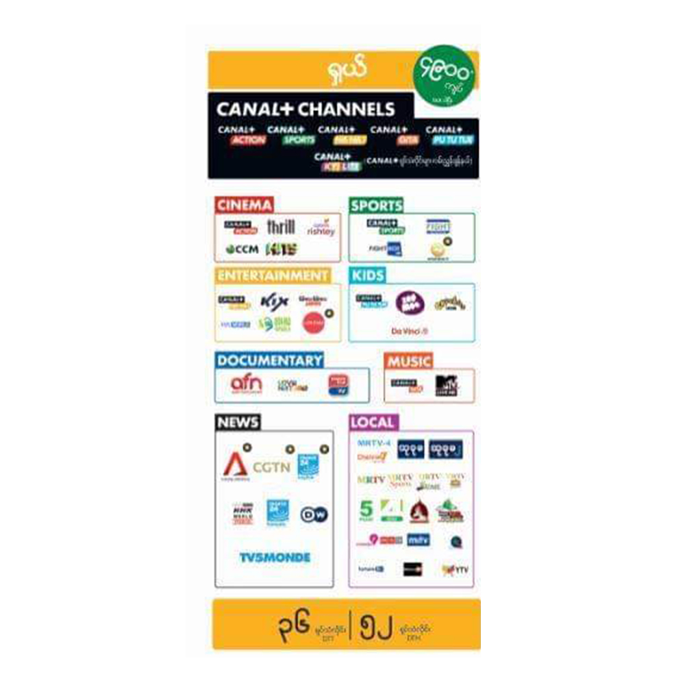 Canal Plus Channels Shall One Month Package ရှယ် ၁ လ
